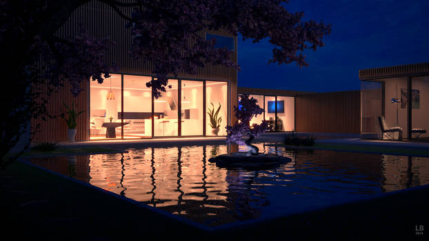 Modern House with pond at night
