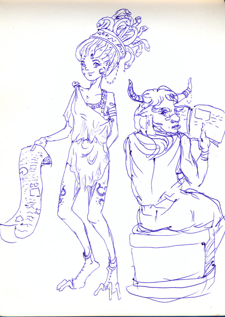 Scetch Gorgona Minotaria by Koneko-himeko