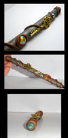 Crown Key and Gems polymer clay pen