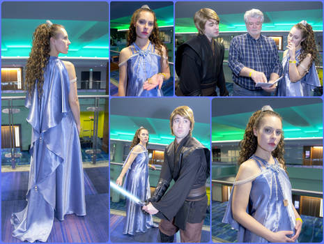 Padme Steel Blue Night Gown ROTS Cosplay