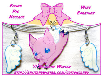 .:Flying Pig Neclace Set:. by PhantomCarnival