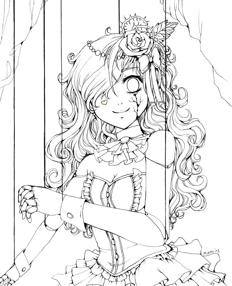 Puppet by miaowx3 on deviantart for Puppet coloring pages