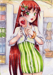 no 195 aceo red lips by MIAOWx3
