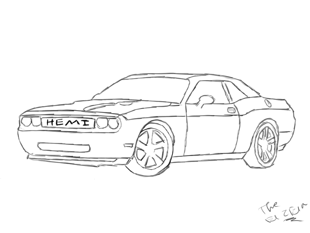 Dodge Challenger Hellcat Coloring Pages Coloring Pages
