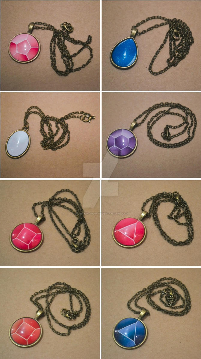 Gem Cabochon Necklaces by PumpkinQuartz