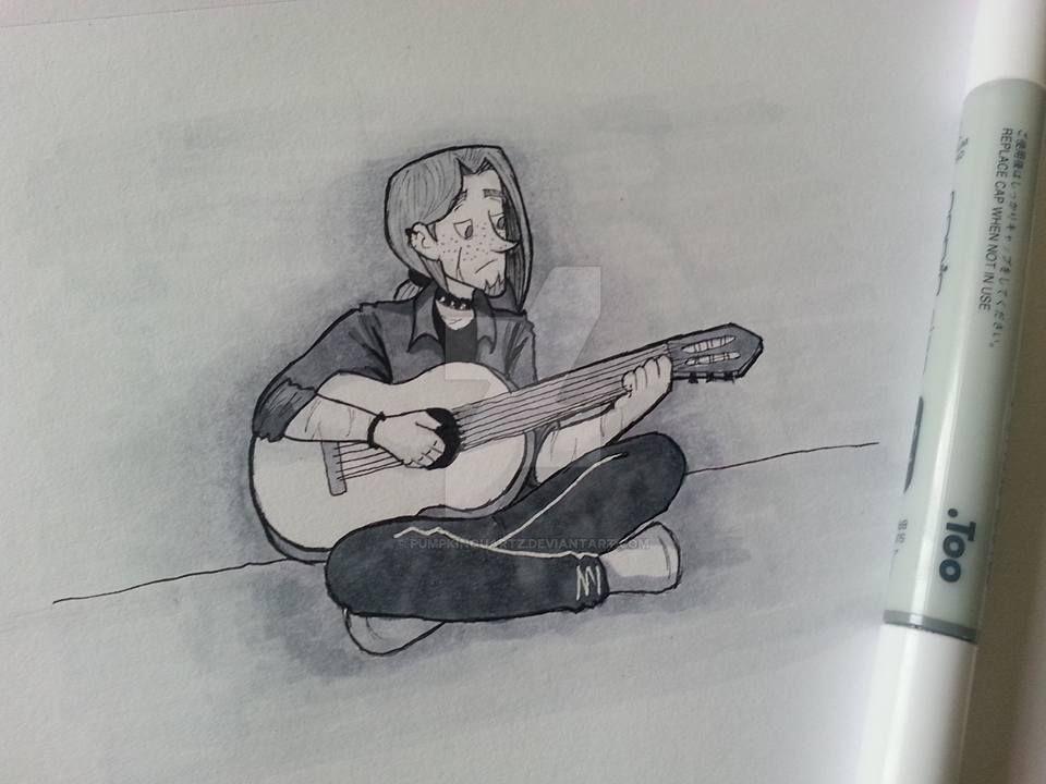 Inktober #5  Strumming the guitar by PumpkinQuartz