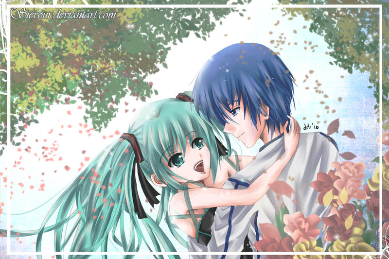 Vocaloid  Miku and KAITO by sievourVocaloid Kaito And Miku Kiss