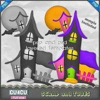 HauntedHouseTemplate Preview ScrapandTubes by ZaZaScrapAndTubes