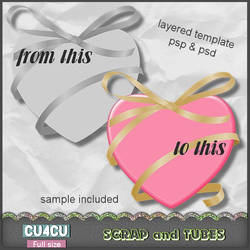 Heart Ribbon Template by ZaZaScrapAndTubes