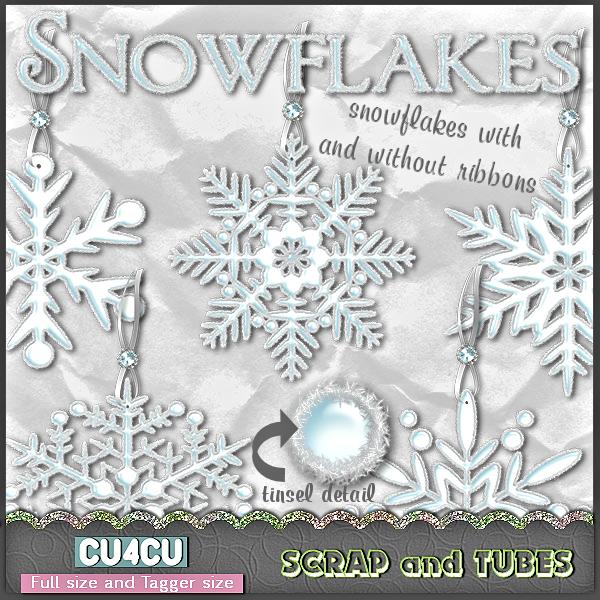 Tinsel Snowflakes by ZaZaScrapAndTubes