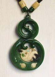 jade and bone carved pendant by savagewerx