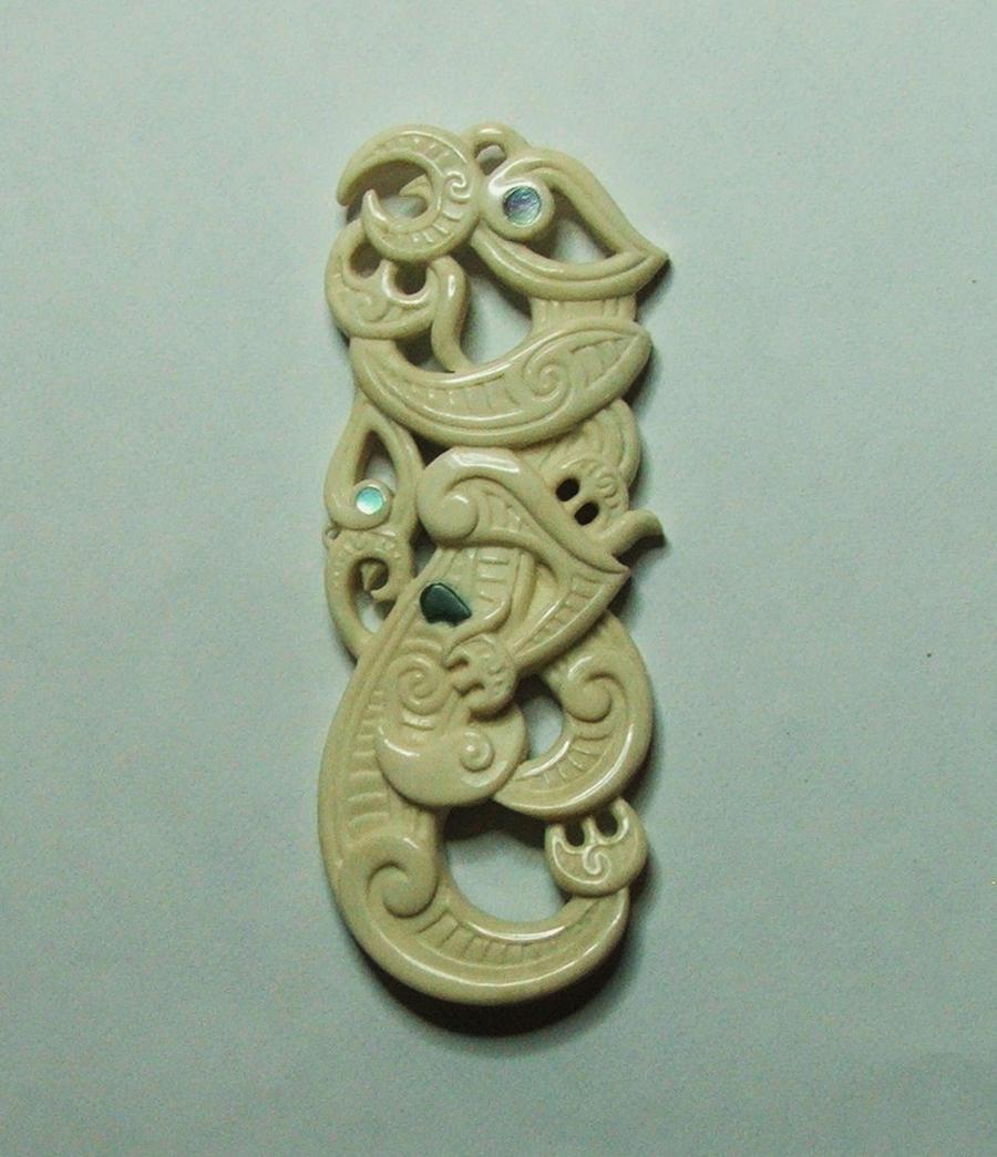 double Manaia bone pendant by savagewerx