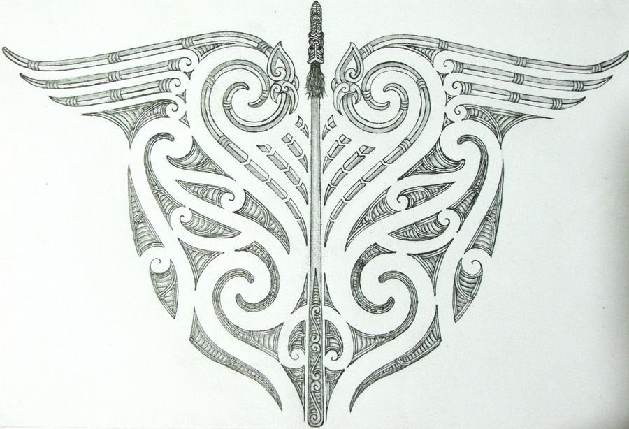 Maori Tribal And Taiaha Back Tattoo Design By Savagewerx