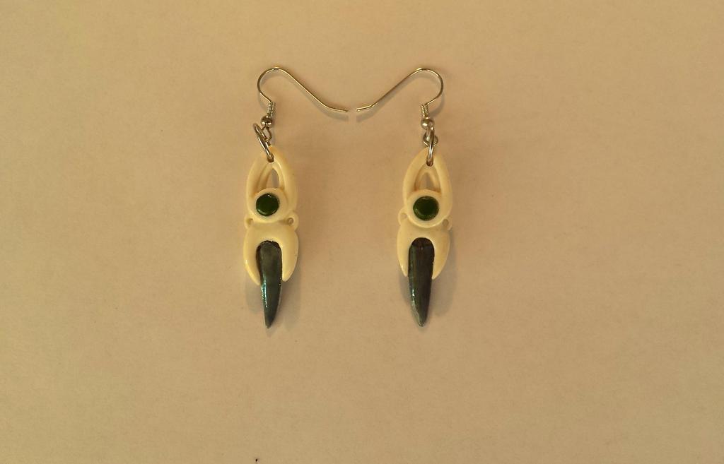 bone,jade,shark tooth earrings by savagewerx