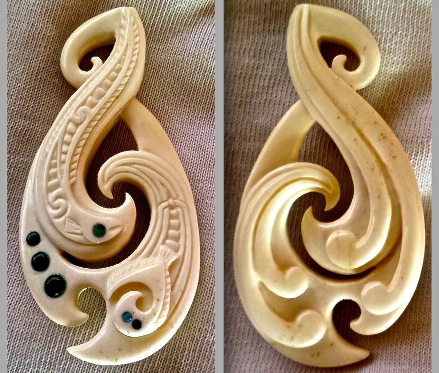 beef bone Hei Matau styled pendant by savagewerx