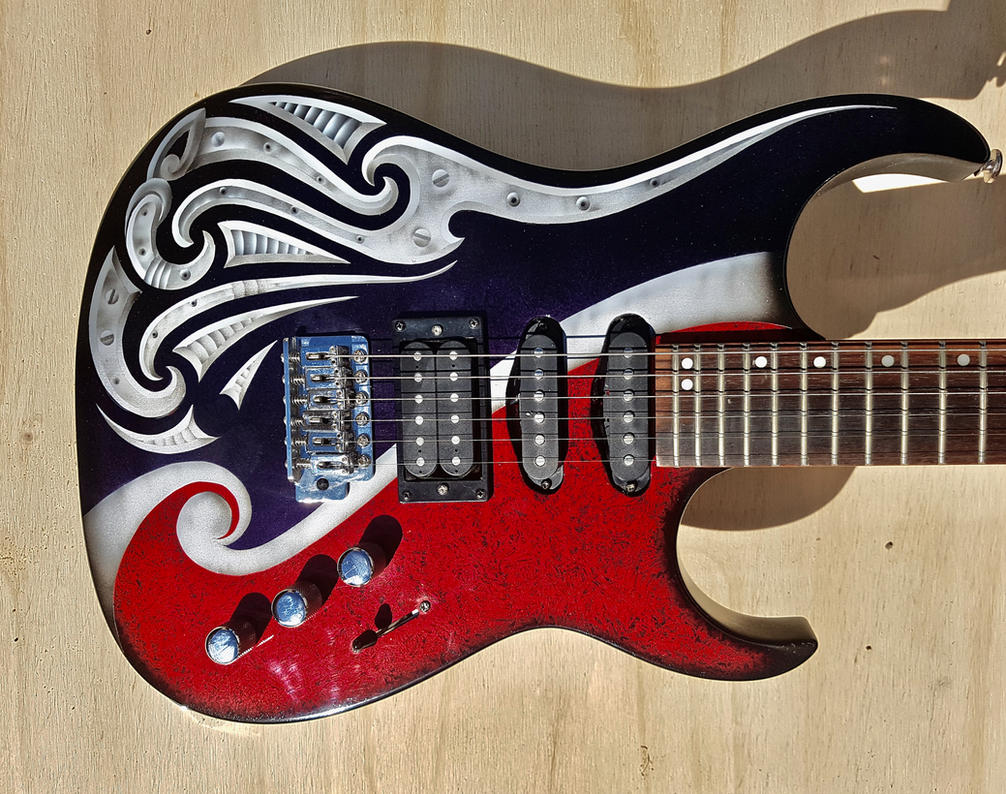 update on airbrushed Maori designed guitar by savagewerx