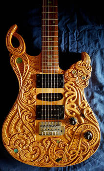 Maori carved guitar