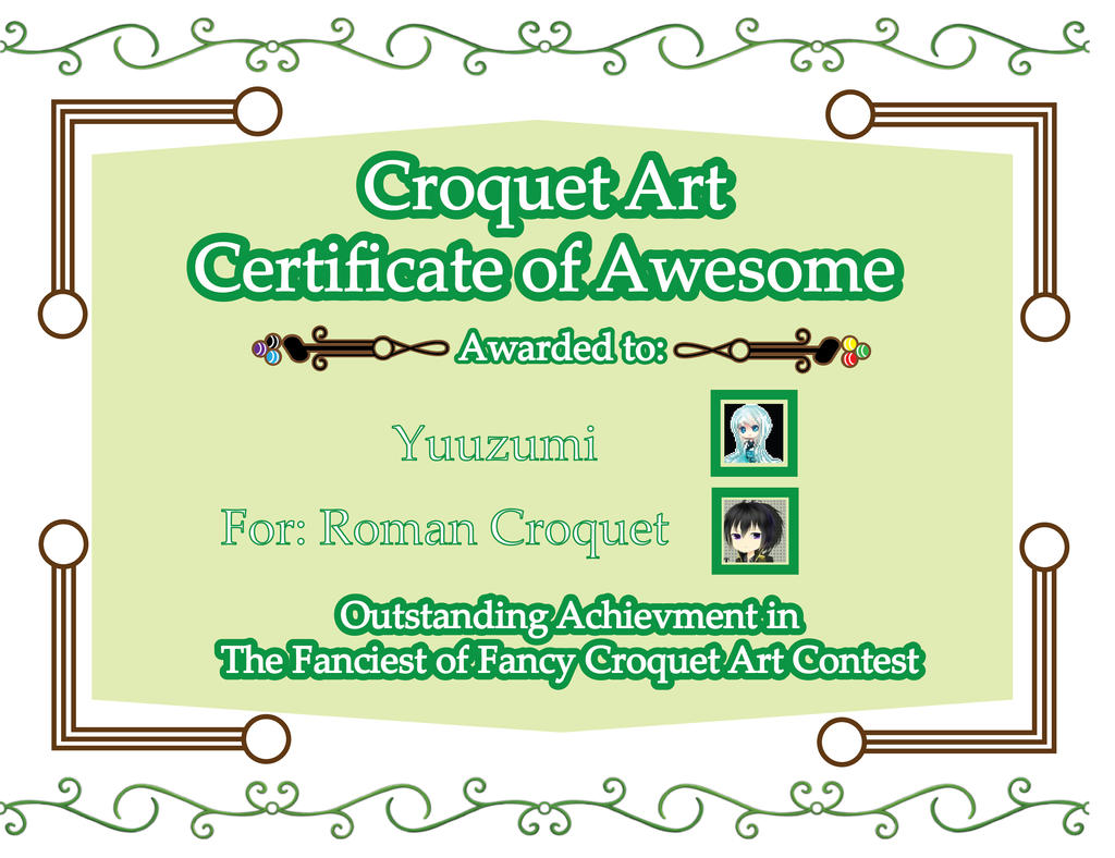 Croquet Certificate of Awesome: Roman Croquet by The-Author-M