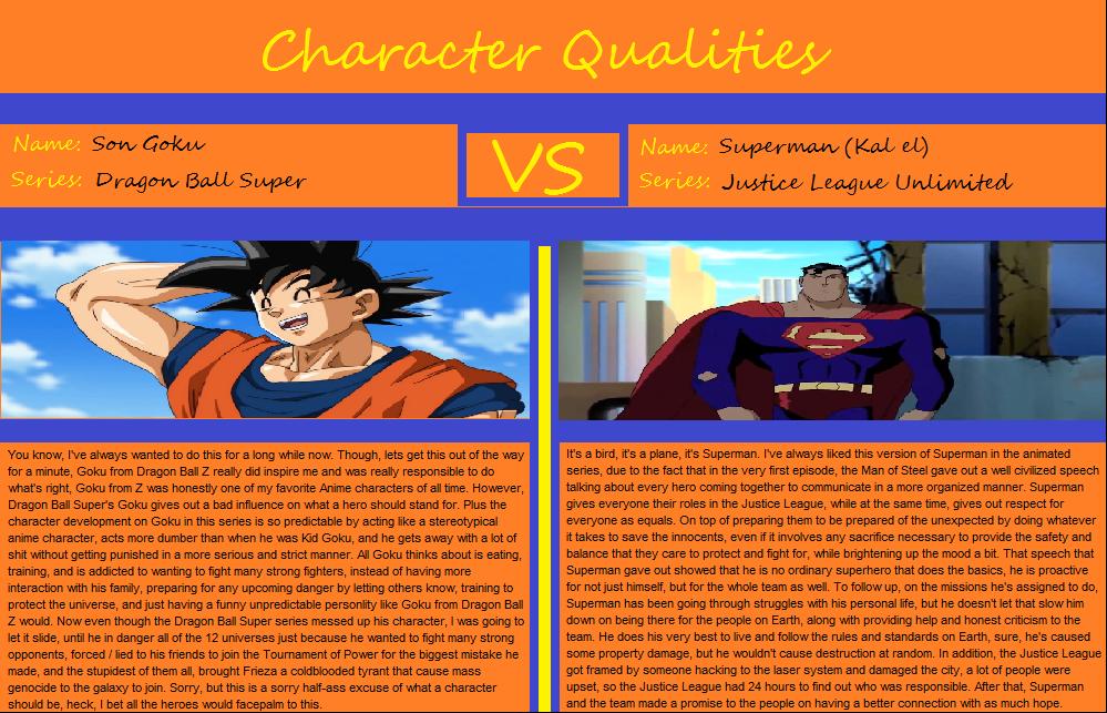 Character Qualities: Son Goku vs Superman by CosmicBoostPhoenixVA