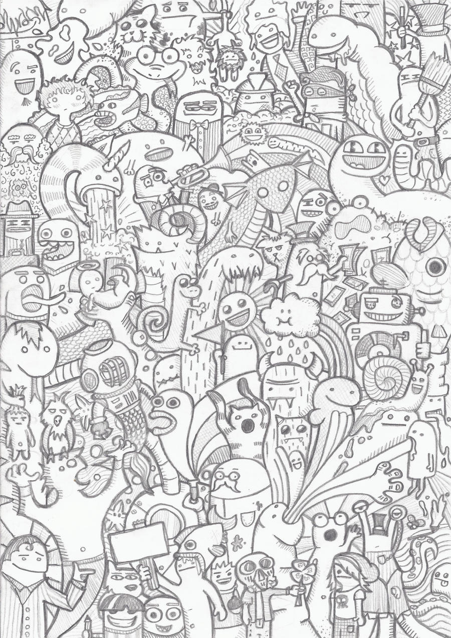 Doodle by msnele on deviantart for Doodle coloring pages