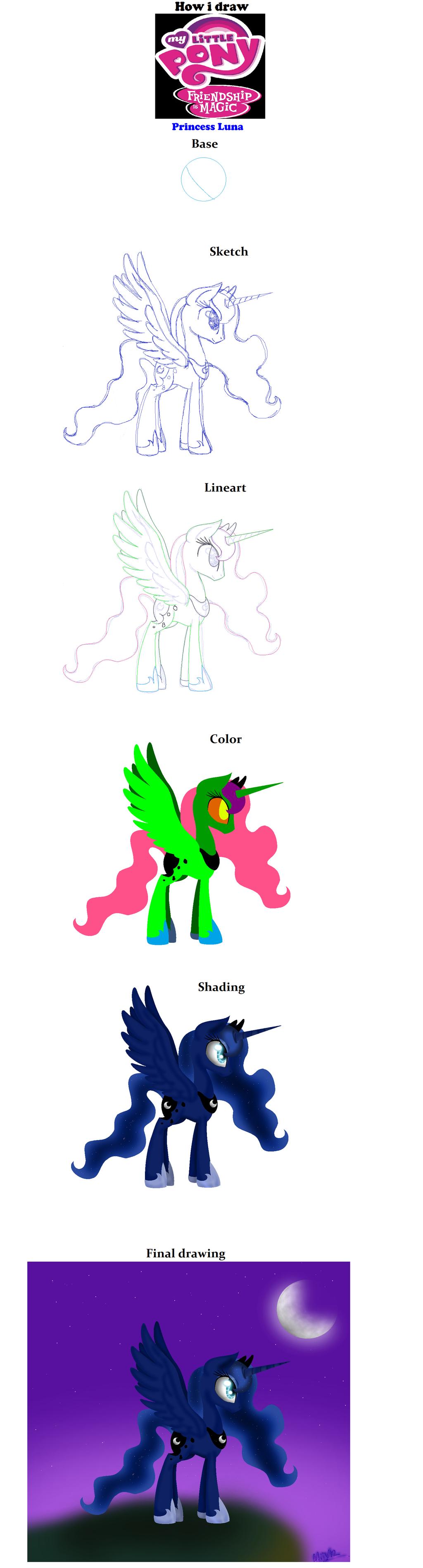 how to draw princess luna