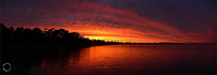 Lake sunset panorama by wildeel