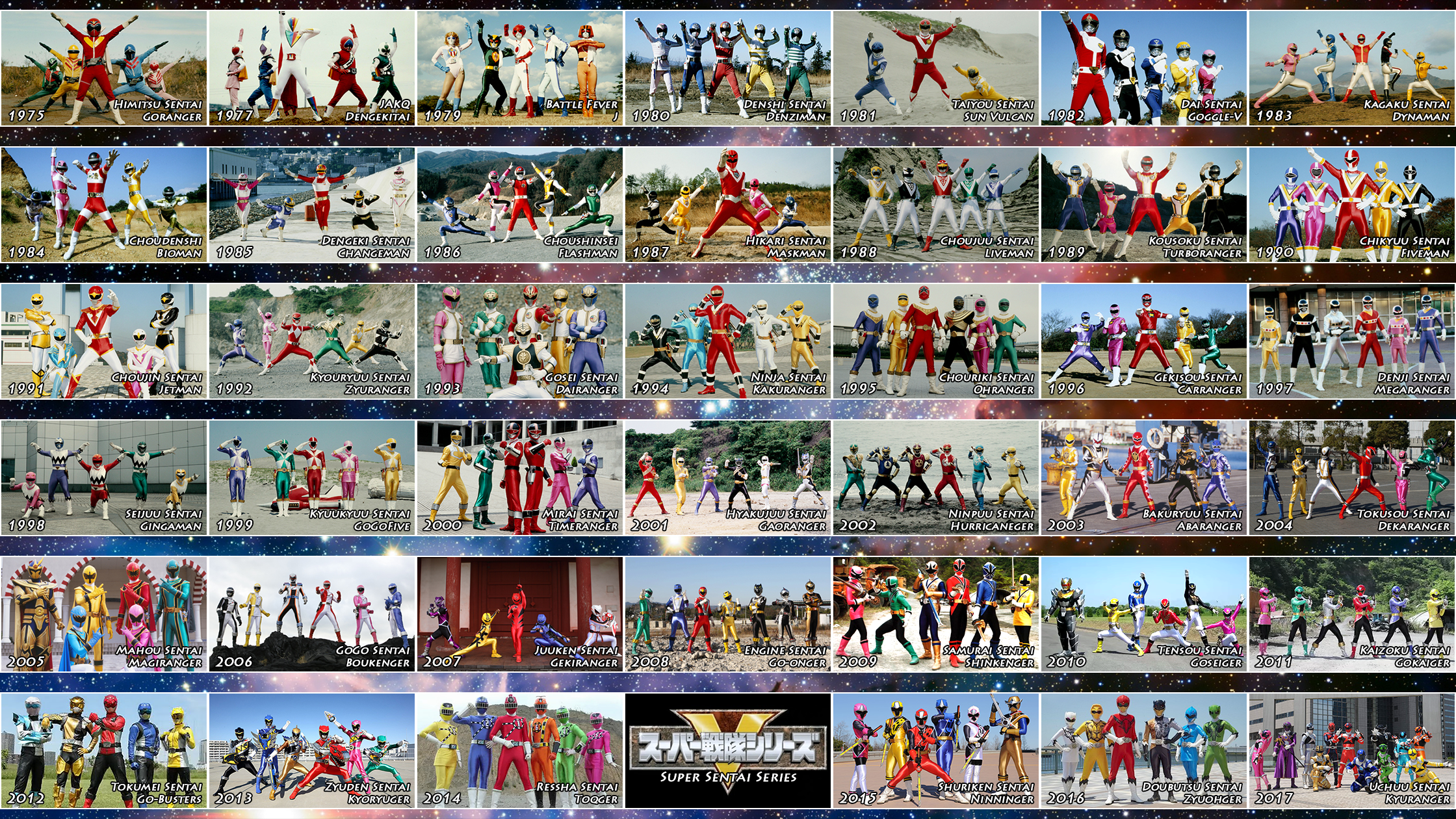 The 41 Super Sentai Teams by nobuharuudou