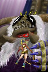 Rikku punching Anima by Gurani