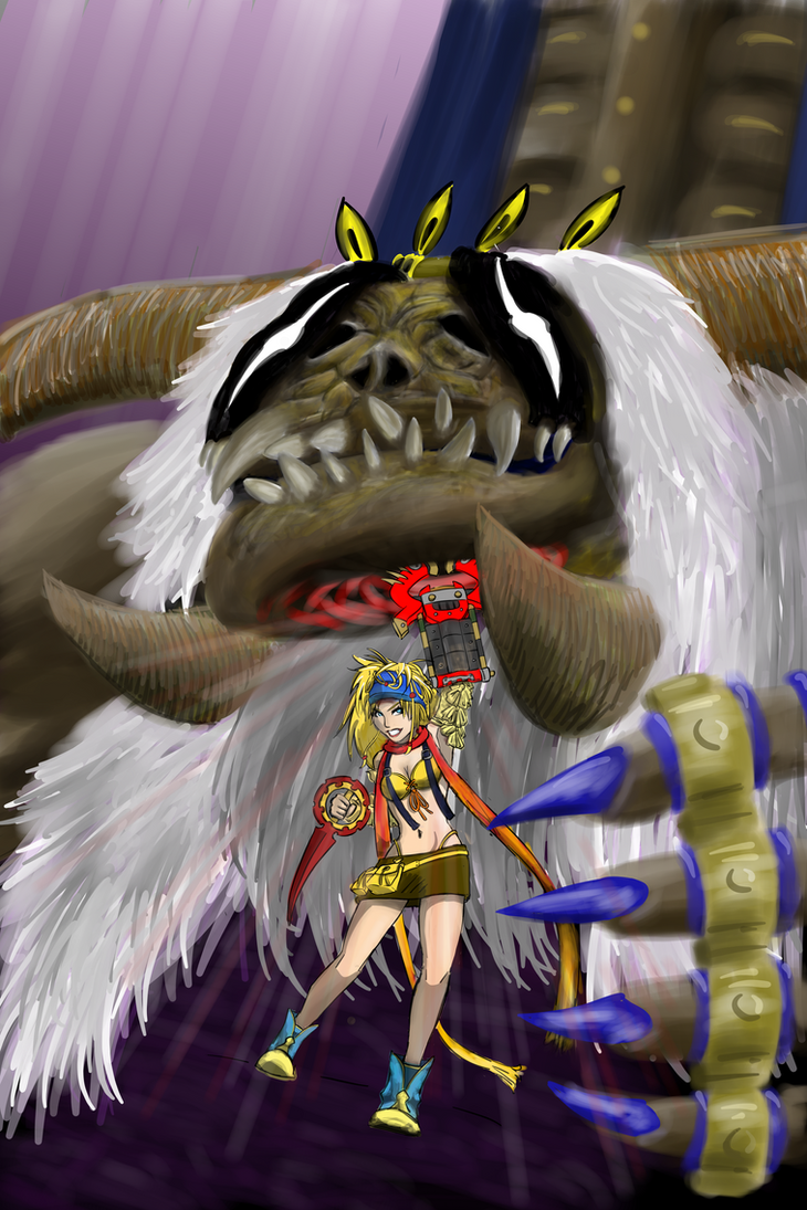 Rikku punching Anima by Gurani