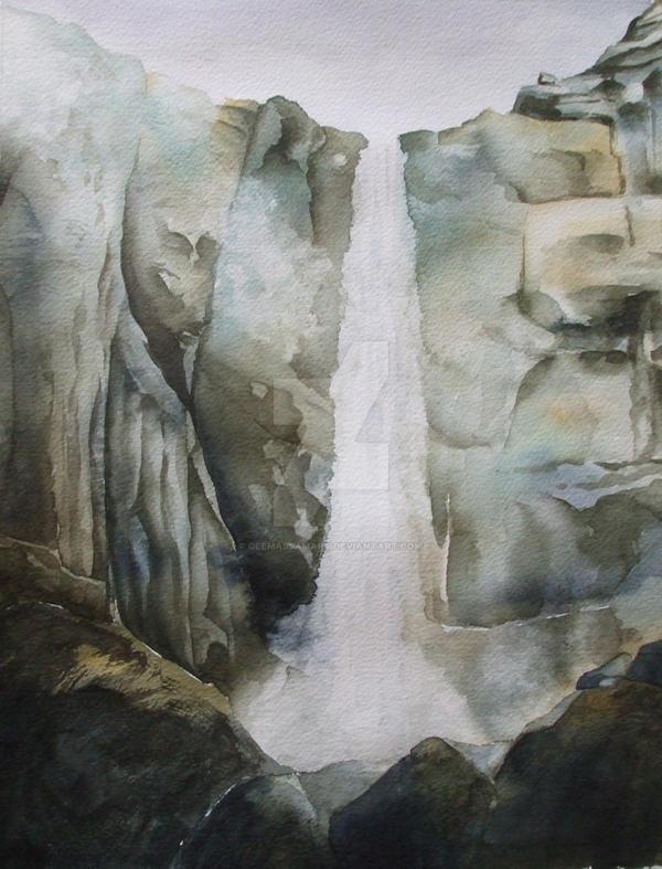 Yosemite: Cold waterfall by GeeMassamArt