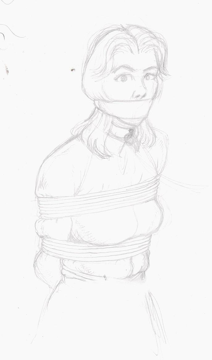 Pencil Sketch 2 -Demure girl, silk blouse, tied up by zaranack
