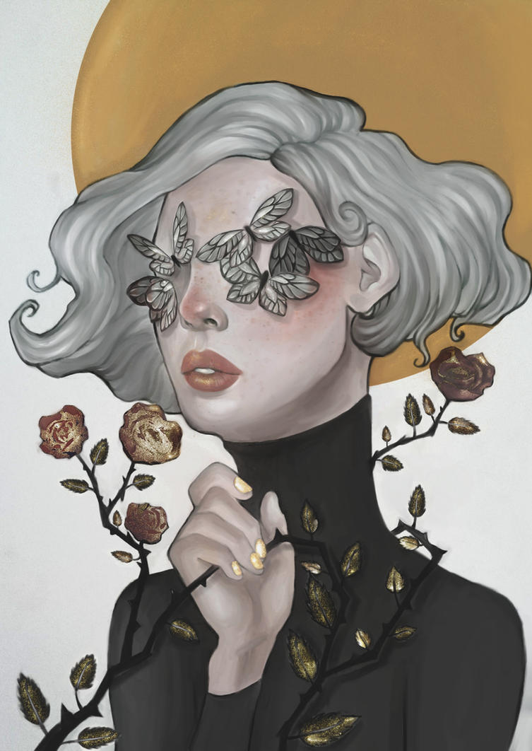 Butterflies and Roses by Nausinesaa