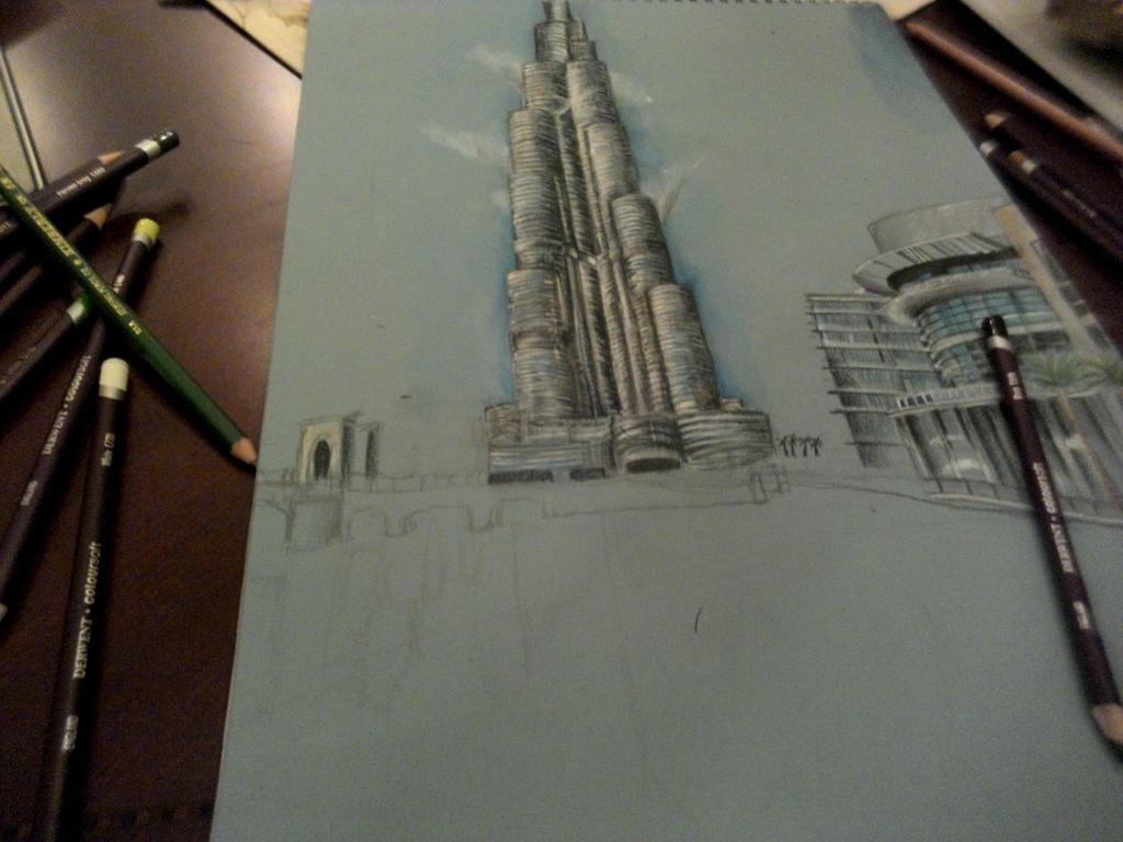 Burj khalifa drawing pt 2 by azamalakazam on deviantart for Burj khalifa sketch