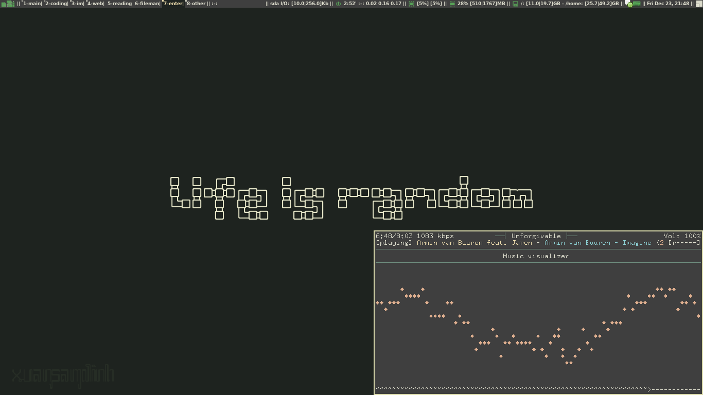 mpd + ncmpcpp + Visualizer in Awesome WM on Gentoo by