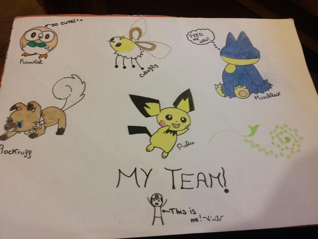 My team in pokemon Moon! by NoemiKirie