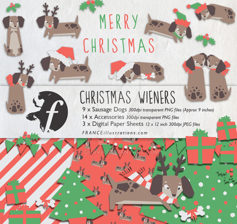 Christmas Wieners Dachshund Xmas Clip Art /// by guava on DeviantArt