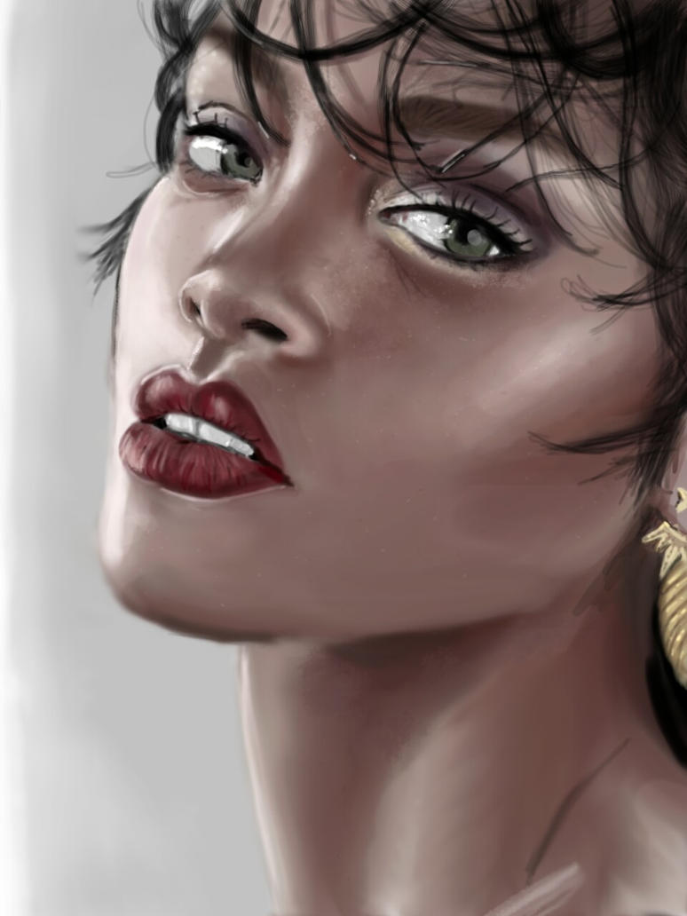 Rihanna portrait by Skribbles342