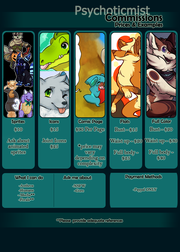 Commission Prices 2017 by Psychoticmist