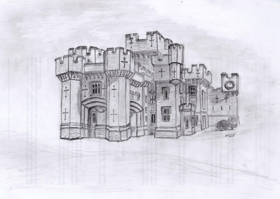 castle pencil drawing by schampi