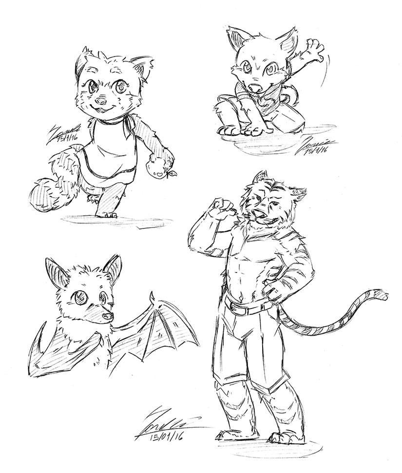 Furry commission examples by KarasuTenguProyectos