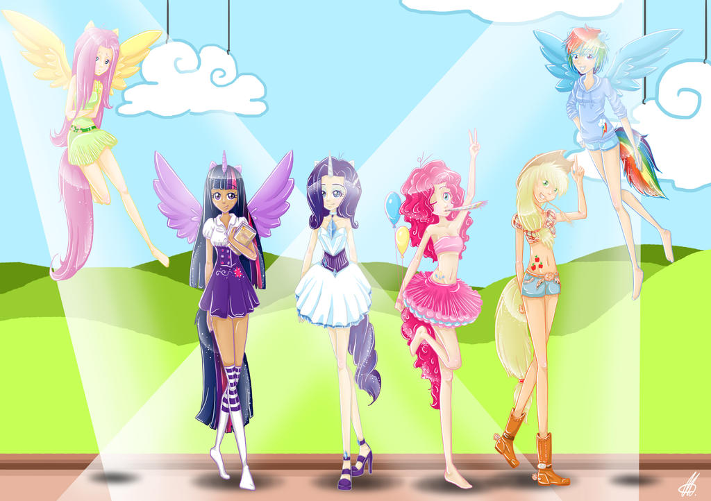 Mane six human by SugarcubeCake