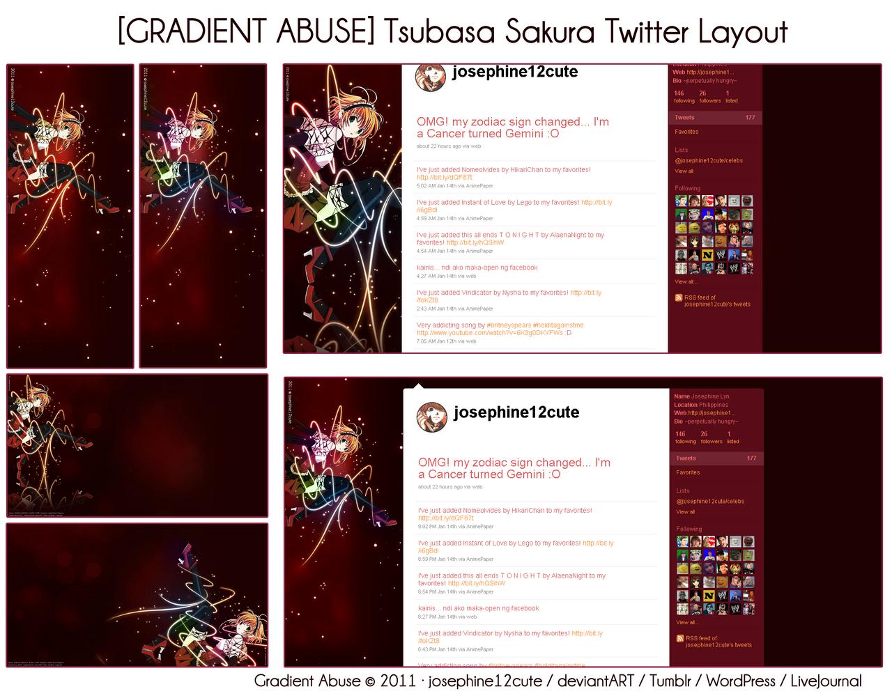 Tsubasa Sakura Twitter Layout by josephine12cute