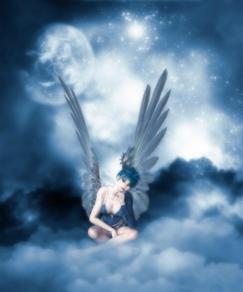 Angel on a Blue Cloud by tinablanton