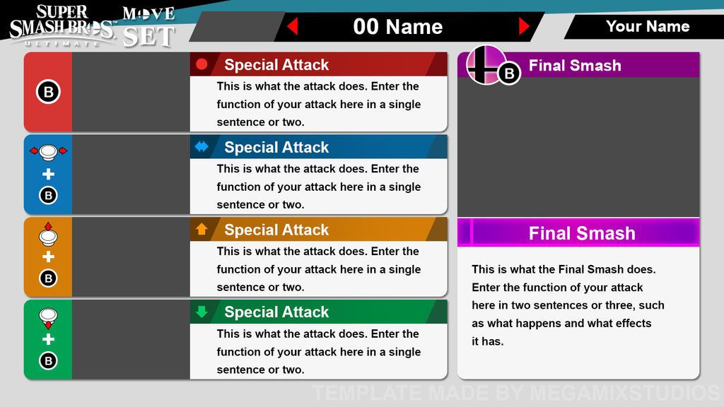 Super Smash Bros. Ultimate - Move Set (Template)