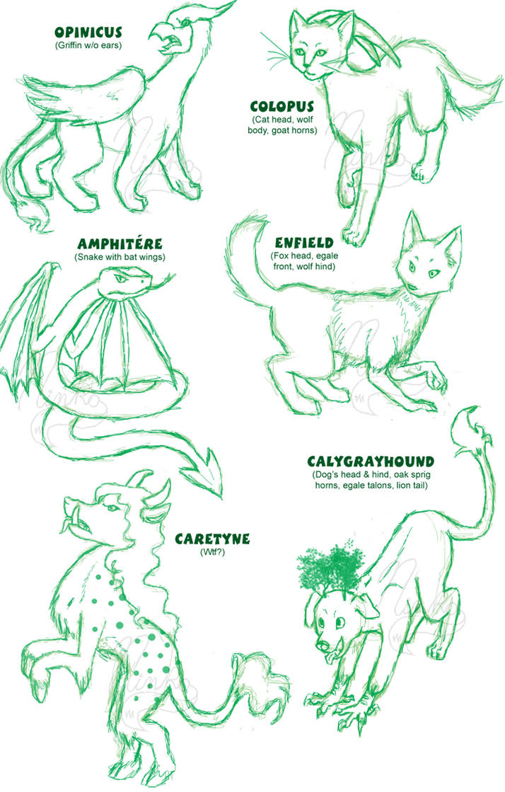 Heraldic Mythical Creatures Sketchs by Ninko-The-Sage on DeviantArt