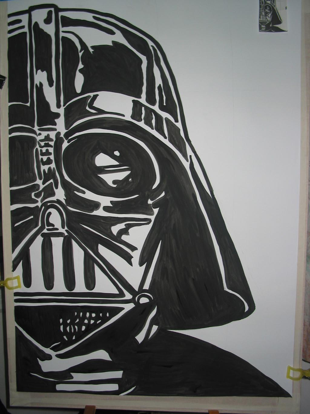 Darth vader the helmet ix by mayann on deviantart for Darth vader black and white