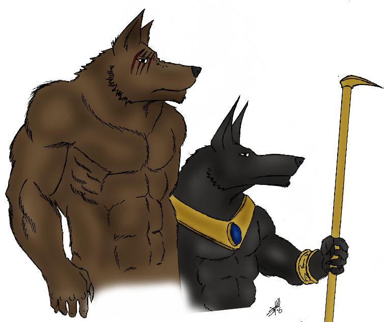 Werewolf and Anubis by anubis-kruger