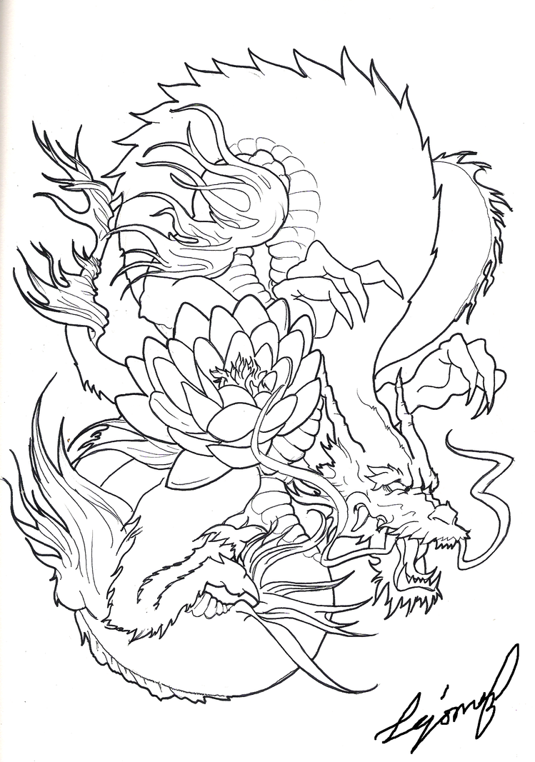 Dragonfly Tattoo Line Drawing : Japanese dragon by drito on deviantart