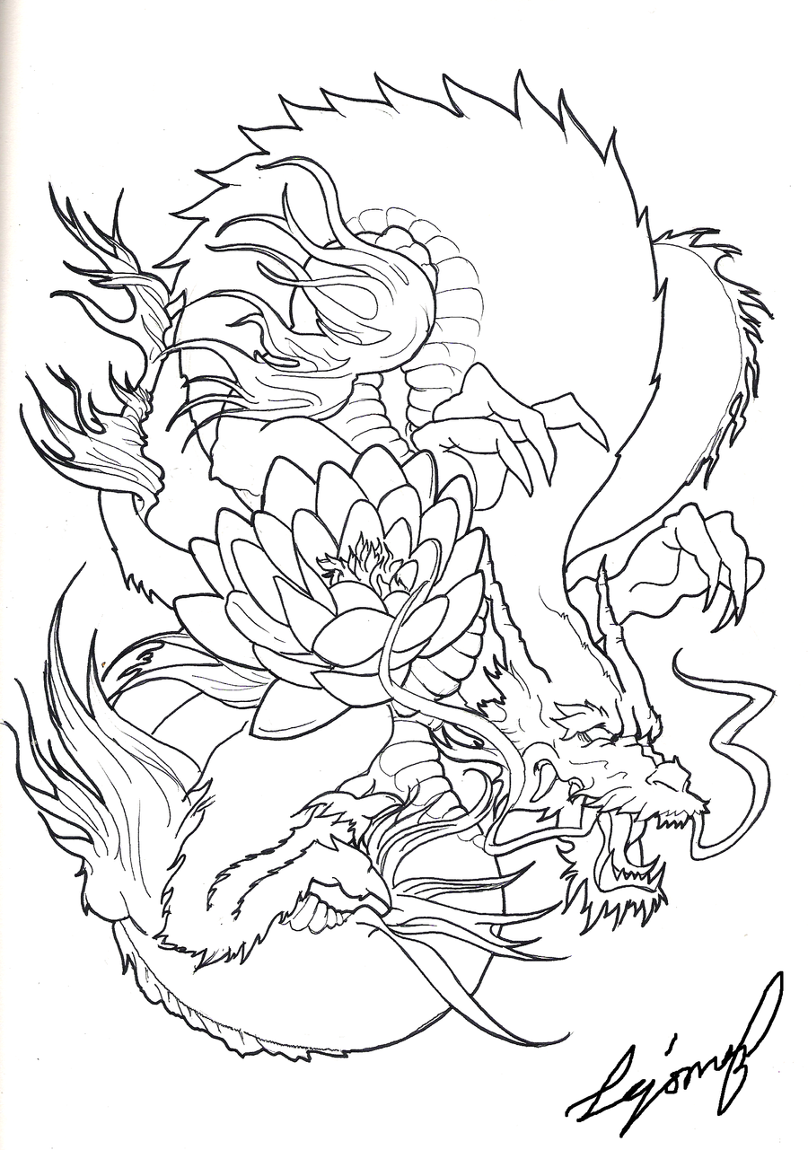 Japanese Tattoo Line Drawing : Japanese dragon by drito on deviantart