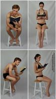 Male and Female Sitting and Reading Poses